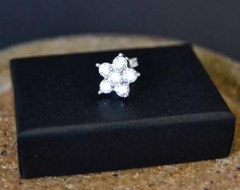 Cartilage Tragus Helix Earring Upper Lobe Stud Sterling Silver CZ Flower Stud Earring Sterling Silver CZ Earring Belle Bohemian
