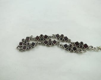 Elegant Sterling Silver Jeweled Red Garnet Link Bracelet