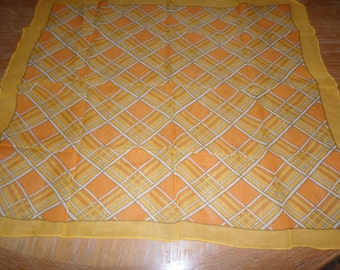 "Vintage Yellow Orange Plaid Scarf 27"" x 23"""