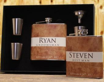 Custom Gifts, Groomsmen Gifts, Set of 9, Personalized Flasks for Groomsmen, Best Man Gift