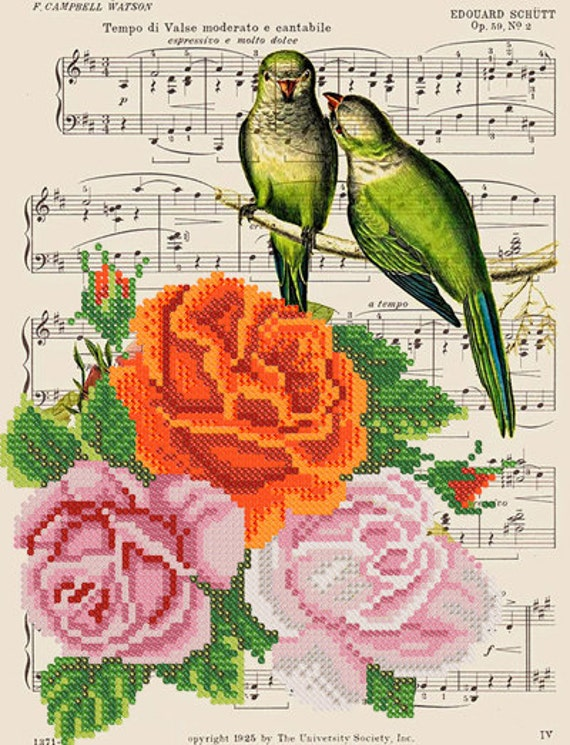 Vintage Parrots Bead embroidery kit, seed beads stitching set, beaded painting, wedding gift idea