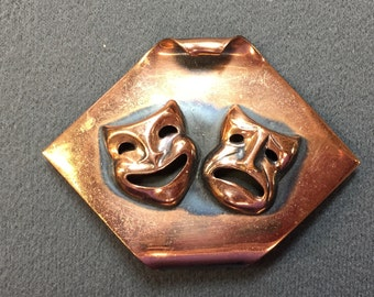 Mid-Century Copper Comedy/Tragedy Masks Brooch.  Free shipping