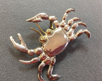 Big Sterling Silver Crab Brooch/Pendant.  Free shipping