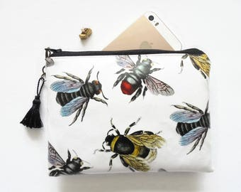 bumble bees,queen bee wallet,bee species,bee bag,bee purse,insects,yellow and black bumble bees,eco bumble bee wallet,eco friendly gifts.