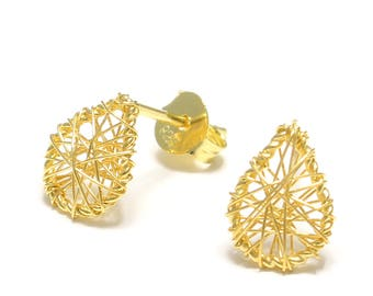 Gold-plated wire drop earrings 925 sterling silver