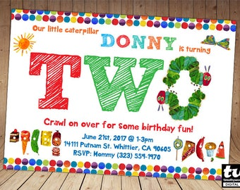 Very Hungry Caterpillar Invitations - ONLY for age 2