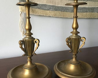 Vintage Antique Mid Century Modern/Hollywood Regency Pair Brass Candlestick