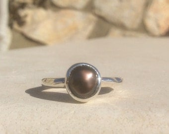 Pearl Silver Ring, US 7.25 Brown Freshwater Pearl Ring, Bridesmaids Gift, Silver Pearl Stacking Ring, June Birthstone Silver Ring