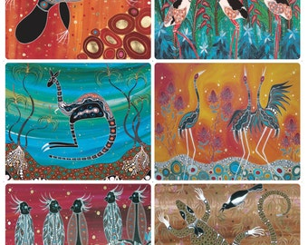 6 Coasters - Australian Made - Aboriginal Animals & Birds - Platypus/Crocodile/Magpie/Goanna/Brolga/Jabiru/Cockatoo - Waterproof