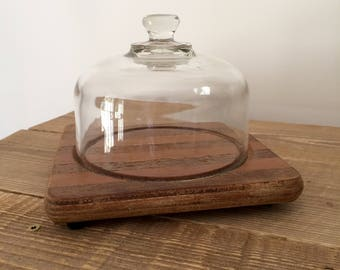 Vintage Wood and Glass Covered Cheese Server/Plate Cloche