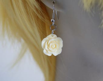 Pale Yellow Rose Resin Flower Earrings with Nickel Free Fish hooks