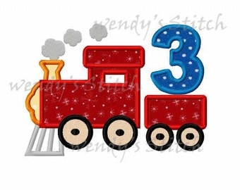 train birthday number 3 applique machine embroidery design instant download