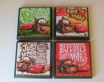 Cars Room Wall Plaques - Set of 4 Cars Boys Room Decor - Cars Wall Signs - Set #3 - Lightning McQueen Tow Mater - Cars Bedrooom Decor