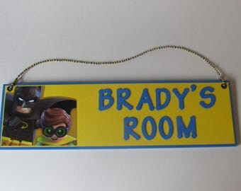 Lego Batman Personalized Room Decor Sign - Lego Batman and Robin Customized Name Sign - Lego Batman Roon Decor