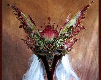 Fairy Wings Mask/Mardi Gras**Iridescent Red/Gold**FREE SHIPPING**Costume/Masquerade/Weddings