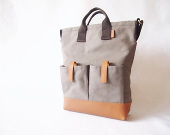 Canvas Leather Tote/ Sling bag/ Laptop/ Business Bag in Gray with Leather Base and Shoulder Pad