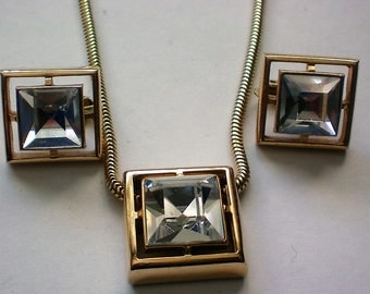 Avon Square Rhinestone Snake Chain Necklace with Clip Earrings Set - 5119