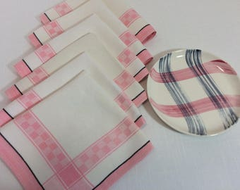 Pink, Black and White Napkins, set of 6, cloth, woven, vintage 1940s