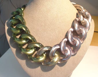 PONO Joan Goodman Green and Silver Ombre Metallic Lucite Curb Link Haute Couture Runway Statement Necklace