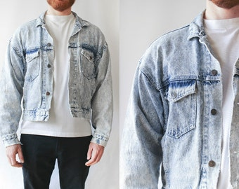 Vintage Mens Acid Faded Distressed Denim Jacket • Hipster Clothing • 90s Grunge Cotton Jacket • Punk Rock Biker Jacket • Post Apocalyptic. M