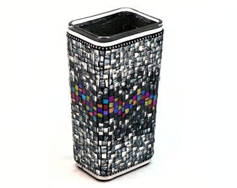 Mosaic Vase - Mirrored Vase - Glitter Glass Vase - Rectangle Vase - Medium Vase - Decorative Vase - Contemporary Vase - Artisan Vase
