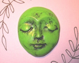"PLAIN Polymer Clay Face Cabochon,One of a Kind,Ooak,1.75"" by 1.5"",flower,flowers,large focal,Granny Smith Green,bead,flat back"