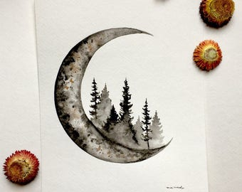 Moon + Pines - Original Watercolor Painting
