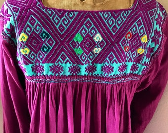 Vintage Mexican Embroidered Gauze Aztec Tunic Top