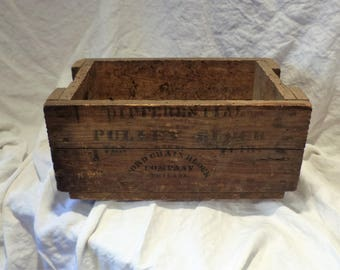Parts Bin, Old Wood Crate, Differential Pulley Block, Ford Chain Block Company Philadelphia, Factory Advertising Wood Box