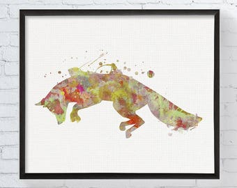Watercolor Fox Art, Jumping Fox Print, Fox Painting, Fox Wall Decor, Woodland Nursery Decor, Forest Animals, Kids Room Decor, Wildlife Art
