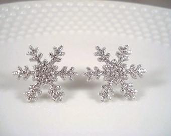 Silver Snowflake Earrings Posts Christmas Studs