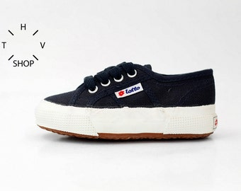 Vintage Lotto kids sneakers / Navy blue White children shoes / Boys Girls Unisex canvas trainers / Toddlers baby kicks / Made in Korea 90s