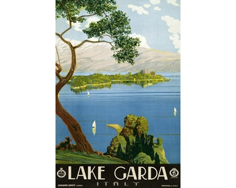 Lake Garda Italy Travel Poster Severino Tremator Barabino Graeve Genova Art Repro Print 317