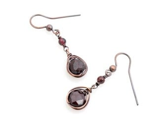 Faceted Garnet Drop Earrings, January Birthstone, Copper Boho Jewelry, Wire Wrapped Gift for Her, Bohemian, Valentine