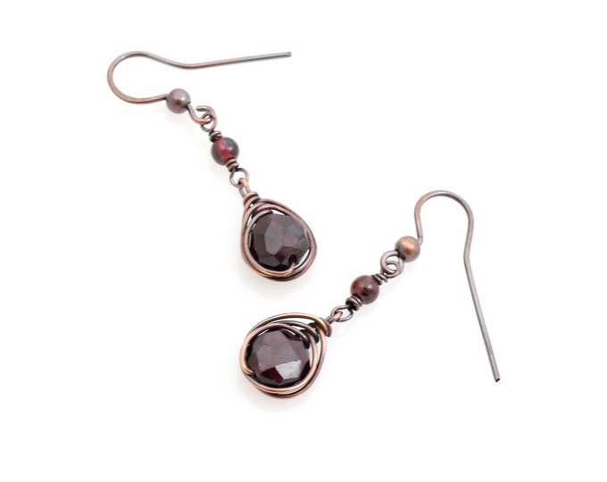 Featured listing image: Faceted Garnet Drop Earrings, January Birthstone, Copper Boho Jewelry, Wire Wrapped Gift for Her, Bohemian, Valentine