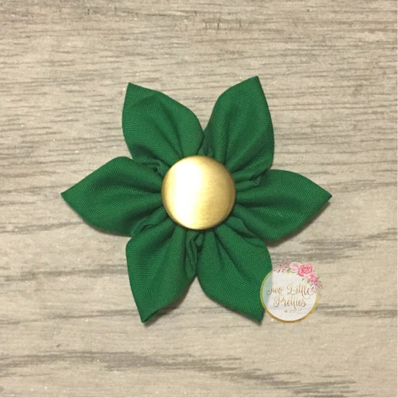 Large solid kelly green fabric flower headband | baby girl | hand sewn