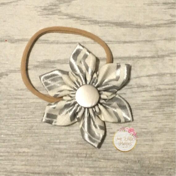 Silver & Ivory geo fabric flower headband   baby girl   hand sewn