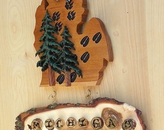 """Lower Michigan Wood Carved Trees and Animal Prints with separate live edge """"Michigan Life"""" Willow Sign - Lower Michigan Mitten Wood Cut Out"""