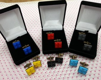 Hand Made BRICK Cufflinks, made using LEGO pieces Novelty Ideal Gift or WEDDING Best Man - Choice of colour