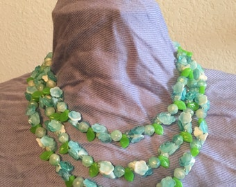 Vintage floral necklace, made in Hong Kong, triple strand choker, blue and green flowers