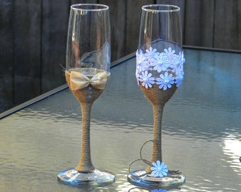 Rustic Wedding Glasses. Wedding Bride & Groom Glasses. Shabby Chic. Rustic Champagne Glasses. Toasting Glasses