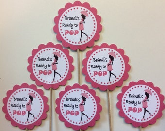 Pink She's ready to Pop Cupcake Toppers Birthday Party Decorations Set of 12 Baby Girl