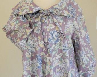 Vintage Laura Ashley Dress Laura Ashley Maternity Dress Smock Dress Vintage Maternity Pastel floral dress Scalloped Collar Lilac Midi Dress