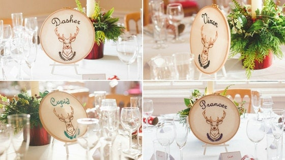 hand embroidered wedding table hoops