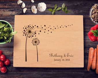 Dandelion Personalized Cutting Board Lasered Engraved Wedding Present Anniversary Gift Bridal Shower Gift Valentine Day Gift