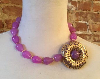 OOAK Colorful Purple Jade Statement Necklace with Colorful Vintage Flower Brooch