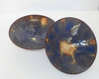 Blue Flower Rice Bowl Pair