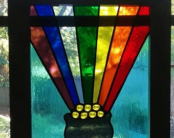Stained Glass Pot of gold at the end of the Rainbow, Stained glass suncatcher, Stained glass Rainbow