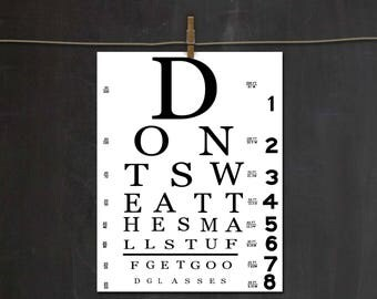 Getting Older Humor ~ Eye Chart Party Decor ~ Senior Citizen Birthday ~ Don't Sweat The Small Stuff, Get Good Glasses ~ DIY Printable
