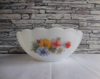 Med salad or fruit bowl with a flower motif  by Arcopal